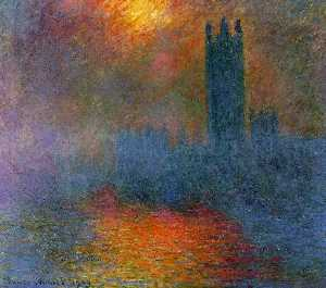 Claude Monet - Houses of Parliament, London, Sun Breaking Through the Fog