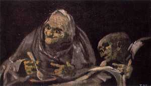 Francisco De Goya - two old women eating from a bowl