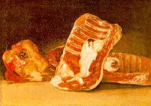 Francisco De Goya - Still Life with Sheeps Head - wood