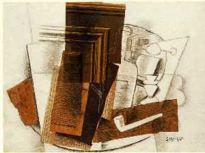 Georges Braque - Bottle, Newspaper, Pipe, and Glass