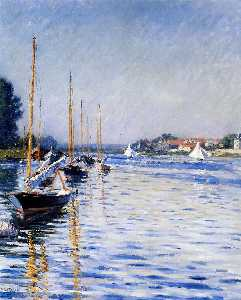 Gustave Caillebotte - Boats on the Seine Sun
