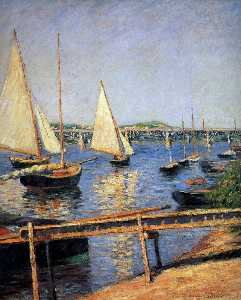 Gustave Caillebotte - Sailing boats at Argentueil Sun
