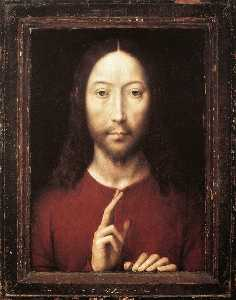 Hans Memling - christ giving his blessin..