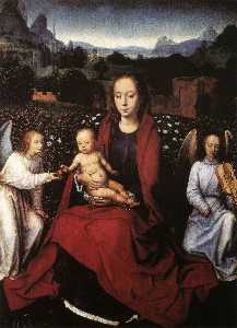 Hans Memling - Virgin and Child in a Rose Garden with Two Angels