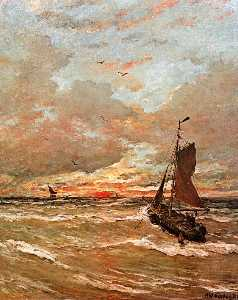 Hendrik Willem Mesdag - sunset in stormy weather sun