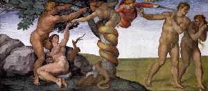 Michelangelo Buonarroti - Sistine Chapel Ceiling Genesis The Fall and Expulsion from Paradise The Expulsion