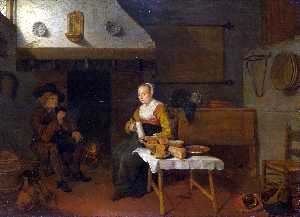 Quiringh Gerritsz Van Brekelenkam - An Interior, with a Man and a Woman seated by a Fire