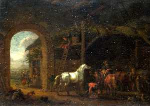 Abraham Pietersz Van Calraet - The Interior of a Stable