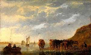 Aelbert Jacobsz Cuyp - A Herdsman with Five Cows..