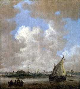 Jan Van Goyen - A River Scene, with a Hut..
