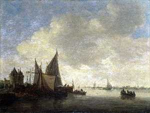Jan Van Goyen - The Mouth of an Estuary w..