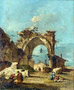 Francesco Lazzaro Guardi - A Caprice with a Ruined A..