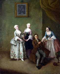 Pietro Longhi - An Interior with Three Wo..