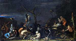 Salvator Rosa - Witches at their Incantat..