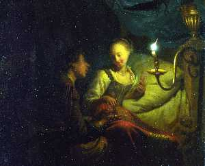 Godfried Schalcken - A Man Offering Gold and C..