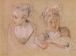 Jean Antoine Watteau - Two studies of the head and the shoulders of a little