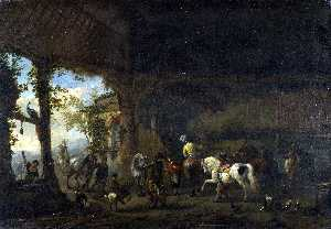 Philips Wouwerman - The Interior of a Stable
