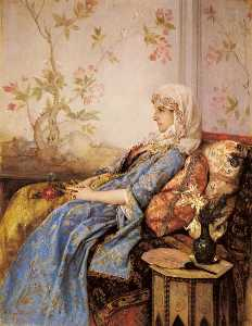 Auguste Toulmouche - An exotic beauty in an interio..