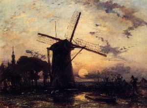 Johan Barthold Jongkind - Boatman by a Windmill at ..