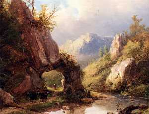 Johann Bernard Klombeck - Bernhard a mountain valley with a peasant and cattle passing along a stream