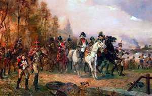 Robert Alexander Hillingford - Napoleon with his troops at the battle of borodino