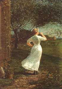 Winslow Homer - The Dinner Horn, oil on canvas, collection of Mr