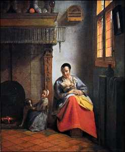 Pieter De Hooch - P.de Woman with children in an interior,1658, SF Museu