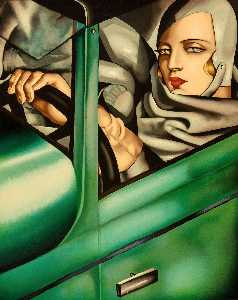 Tamara De Lempicka - in the Green Bugatti