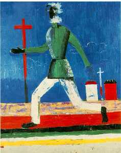 Kazimir Severinovich Malevich - Running Man Oil on canvas (79 x 65 cm.) Mus