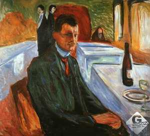 Edvard Munch - Self-Portrait with a Wine Bottle, oil on canvas,