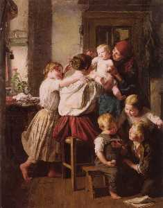 Ferdinand Georg Waldmuller - Children Making Their Grandmother a Present on Her Name Day