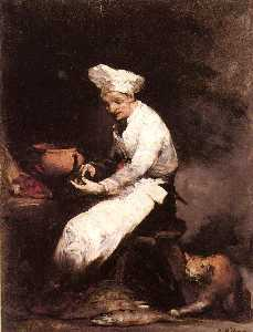 Théodule Augustin Ribot - The Cook and the Cat