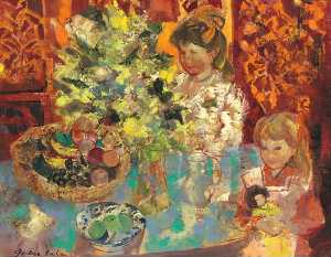 Emilio Grau Sala - Interior with Flowers, Woman and Child, (1966)