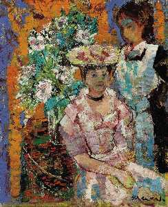 Emilio Grau Sala - Woman Seated in front Flo..