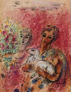 Reuven Rubin - Couple with Lamb and Flow..