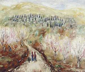 Reuven Rubin - Figures along a Path in S..