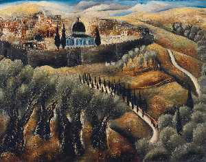 Reuven Rubin - Jerusalem seen from mt. s..