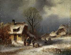 Anton Doll - Winter village scene