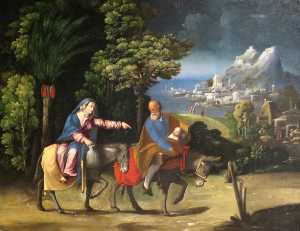 Battista Dossi - The Flight into Egypt by ..