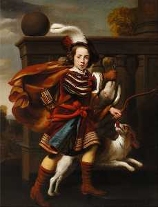 Cornelis Bisschop - Portrait of a young boy as a hunter with his King Charles Spaniel
