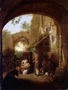Cornelis Dusart - Figures in the Courtyard of an..