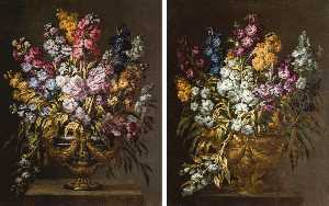 Gabriel De La Corte - A pair of still lifes of ..