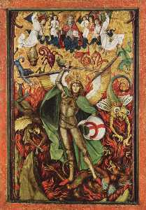 Hans The Younger Leu - Descent into Hell, Archangel Michael fighting with Lucifer