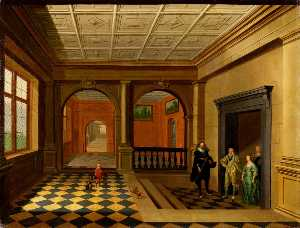 Hendrick Van The Younger .. - An Interior with King Cha..
