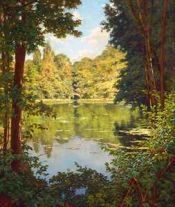 Henri Biva - A sun drenched river view