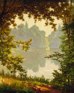 Henri Biva - Looking out onto a lake on a s..