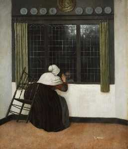 Jacobus Vrel - Woman at the window waving to ..