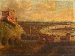 Jan Griffier - Greenwich Park and the River Thames