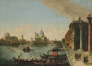 Johann Richter - Venice, a view of the bacino di san marco with santa maria della salute beyond