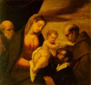 Polidoro Da Lanciano - Madonna and Child, Saint Francis and Saint Joseph with a Donor